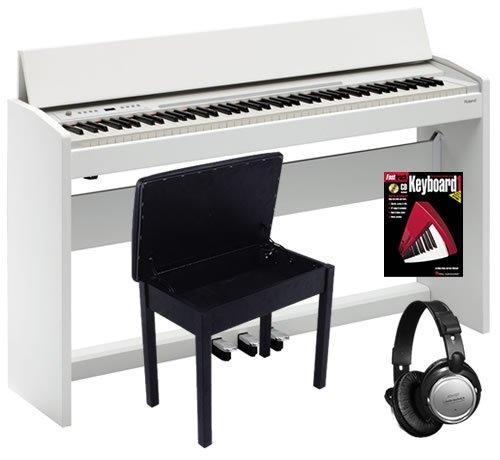 Roland White F-120 Digital Piano BUNDLE w/ Bench & Headphones