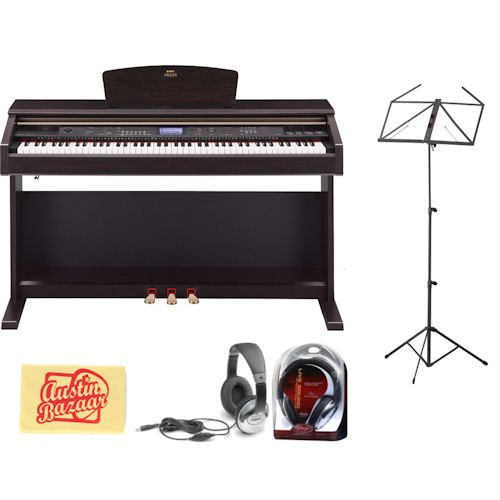 Yamaha YDP-V240 Digital Piano Bundle with Headphones, Music Stand, and Polishing Cloth