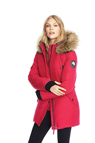 Alpinetek Women's Down Mid Length Parka Coat (X-Large, Crimson)