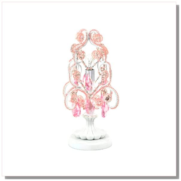 Tadpoles Mini Chandelier Table Lamp, Pink