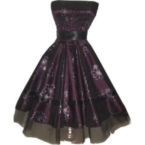 Pretty Kitty Fashion Elegant Hochzeit Hübschen lila Blume Kleid L