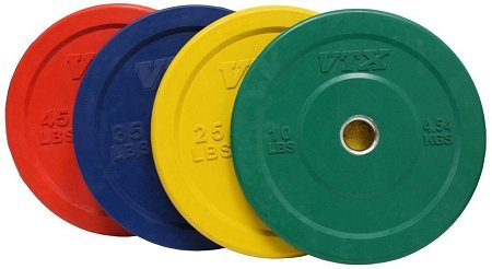 Troy VTX 230lb Colored Olympic Rubber Bumper Plates