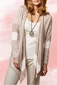 Per Una Open Front Drape Jersey Cardigan with Vest & Necklace [T62-6125F-S]