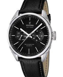 Festina F16629/8 - Reloj analógico de cuarzo para hombre con correa de piel, color negro