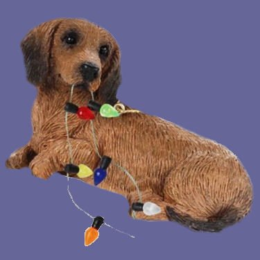 Red Dachshund with Christmas Lights Ornament