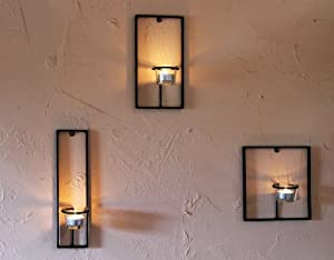 Tea light holder Carré 3-Pcs. Wall mounted candle holder ... on Wall Mounted Candle Holder id=24841