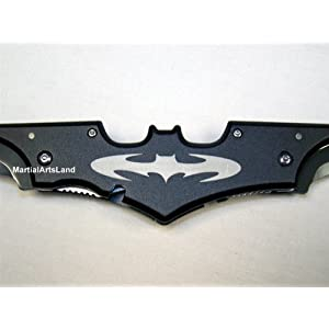 Black Batman Batarang Shape Dark Knight Dbl Edge Sharp Folding Knife