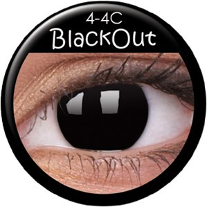 Fasching Kontaktlinsen Farbige Kontaktlinsen crazy Kontaktlinsen crazy contact lenses Schwarz Black Dämonaugen Hexenaugen 1 Paar zu Karneval, Halloween, Fasching und Kostüm..Mit Kontaktlinsenbehälter.