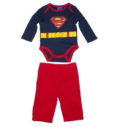 2 PIECE SET: Superman DC Comics Baby / Infant One-Piece Bodysuit & Fleece Pant Set