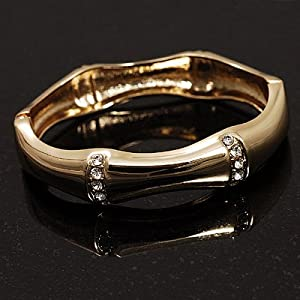 Gold Clear Crystal Hinged Fashion Bangle Bracelet