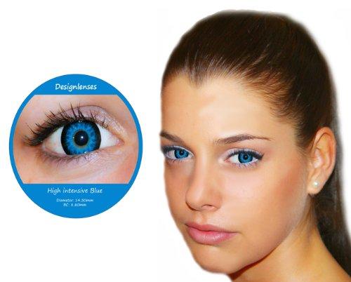 Farbige Kontaktlinsen Blue 3 Monatslinsen ohne Stärke Design: High intensiv Blue