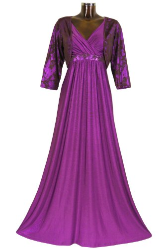 Monty Q Elegantes Maxikleid Party - Abendkleid Lang Empire mit Bolero X4E3 in Groesse 38 - 58