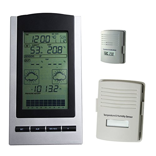 Blackshark Wireless Indoor & Outdoor Digital Weather Station Clock- Monitors Temperature, Dew Point, Barometer and Humidity With a built-in Weather Forecast Tendency Indicator