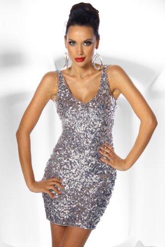 LH Dessous - 12373 (silber) Größe S-M. Mini-Kleid, welches mit vielen Pailletten verziert ist. Er hat vorne und hinten einen schönen V-Ausschnitt, der die Weiblichkeit hervorragend hervorhebt