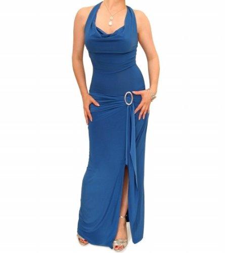 Blue Banana - Neckholder Schnalle Lang Kleid - Blau