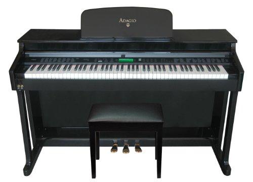 Adagio KDP-8826PE Upright 88 Note Hammer-Action Full Ensemble Console Digital Piano (High Gloss Polished Ebony Finish)