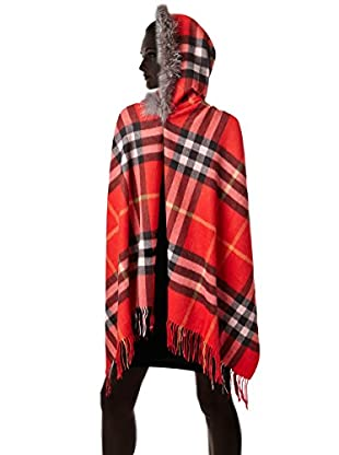 Mitchie's Matchings Women's Plaid Wrap with Hood and Silver Fox Trim, Red