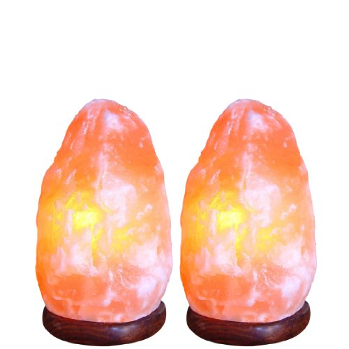 8 Inch, Indus Classic, Lot of 2 Himalayan Rock Crystal Salt Lamps 7~10 Lbs Comes with Shrink Wrapped, Cord, Bulbs. Get Free 125 Grams Gourmet Pink Edible Food Grade Salt.