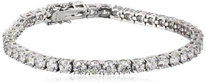 Platinum-or-Gold-Plated-Sterling-Silver-Swarovski-Zirconia-Round-Cut-Tennis-Bracelet