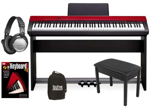 Casio PX-130 Red Digital Piano COMPLETE BUNDLE w/ Stand, Pedals & Bench