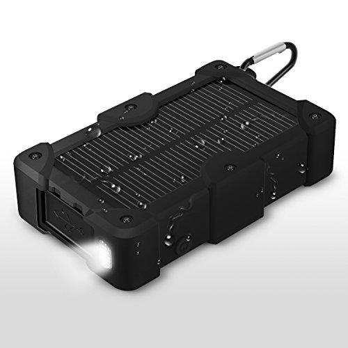EC Technology 10000mAh 大容量 モバイルバッテリー ソーラーチャージャー ソーラーバッテリー ソーラーパネル防水設計 2USBポート 防災用ソーラーで充電可カラビナ付き iPhone/iPad/Android各種スマホ / タブレットなどに対応(ブラック