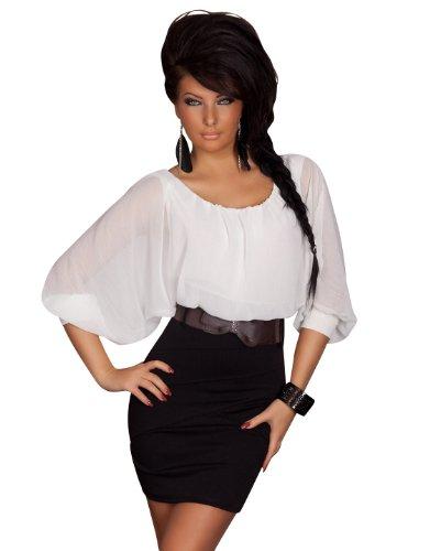 Super Sexy Minikleid Kleid mit modischen Fledermausärmeln inkl. Gürtel in Schwarz Weiß Gr. 34 36 38