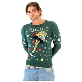 A Christmas Story Fragile Leg Lamp Light Up Adult Green Ugly Christmas Sweater