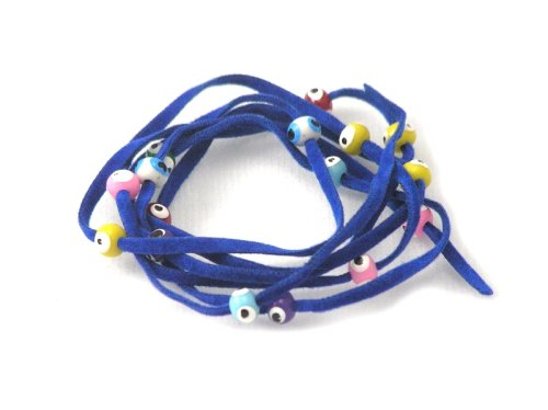 Royal Blue Suede Kabbalah String Bracelet with Lucky Eyes