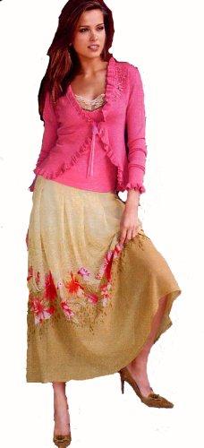 TOGETHER Damen-Rock Georgette-Rock beige-pink