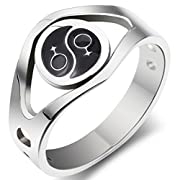 SumBonum Jewelry Stainless Steel 2-Tone Lesbian Love Female Symbol Ring 3.8mm Black Silver