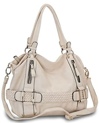 Cream Weave Pattern Belt Accent Double Handle Top Closure Soft Hobo Bowler Satchel Office Tote Shoulder Bag Handbag Purse