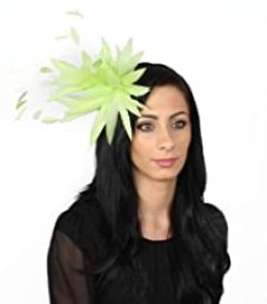 Hats By Cressida Lime Green Feather Kentucky Derby Fascinator Hat With Headband