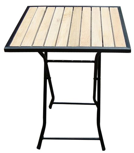 Biergarten-Tisch Gartentisch Biergartentisch, Holz+Metall, quadratisch, 60x60cm H:70cm