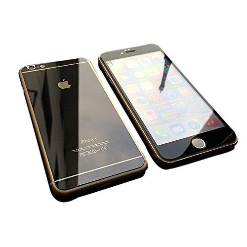 【hayarifashion】iphone6 5.5/4.7インチ 衝撃保護ガラスフィルム 液晶保護フィルム 鏡面ミラーキラキラ光るバックプレート前後鏡面ガラスフィルム 前後セット 0.20mm 表面硬度9H iPhone6/6PLUS対応 iPhone6 ダックグレー