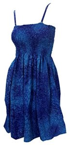 La-Leela-Likre-Rain-Drop-Beach-Backless-Smocked-Short-Tube-Plus-Dress-Maxi-Blue