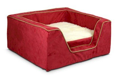 Snoozer Memory Foam Luxury Square Pet Bed, Medium, Red/Camel