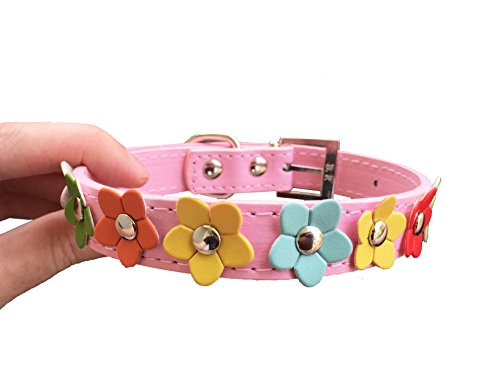 Pink Flower Collar- Vegan Friendly & Nature Inspired: Dog and Cat Faux Leather Collar- Pink