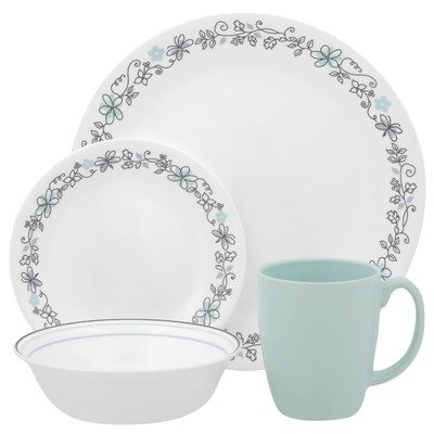 Corelle Livingware 16-Piece Dinnerware Set, Service for 4, Day Dream