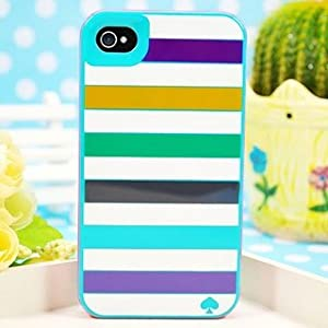 Kate Spade iPhone 4 Case Contour Design Cover (Blue Horizontal Stripe)