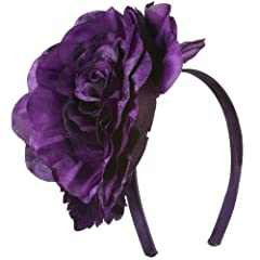 6 Inch Flower Satin Covered Headband - Dark Purple OSFM