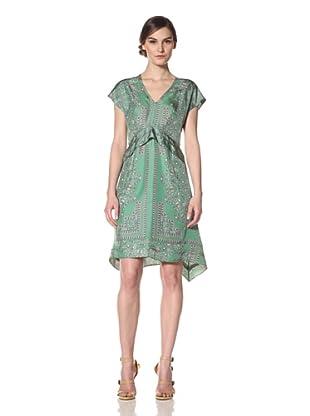 Derek Lam Women's Paisley Printed Cap Sleeve Dress (Emerald/Purple)