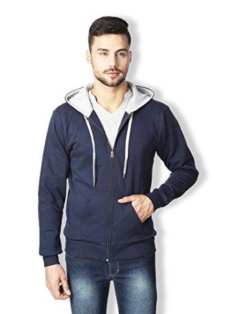 Rodid Men's Cotton Solid Full Sleeve Sweatshirt Navy Blue_M