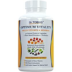 Dr. Tobias Multivitamin & Mineral Plus Enzymes - Enhanced Bioavailability - With Wholefoods & Herbal Ingredients - Rich in B Vitamins & C