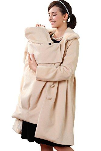 スウィートマミー (Sweet Mommy) ラビットファー 襟付き ママコート マルチ防寒カバー ダッカー付き L ライトベージュ