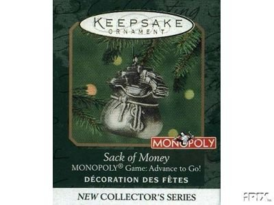 Monopoly money bag Christmas ornament
