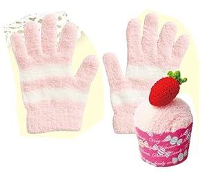 【可愛いパッケージのルーム手袋】Candy Factory カップケーキ(マーブルストロベリー)おやすみ手袋(指先あり) CFC-600