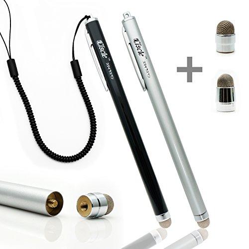 Ciscle スタンドに最適 金属繊維タイプ ペン先交換式 スタイラスペン iPhone iPad スマートフォン対応 静電容量式 タッチパネル用タッチペン ブラック+シルバー