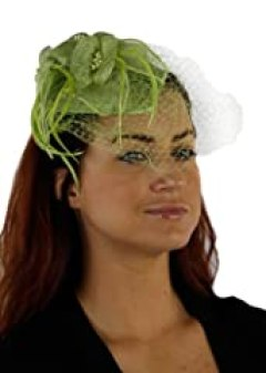 Charisma Sinamay Fascinator Cocktail Hat with Netting (Lime Green)