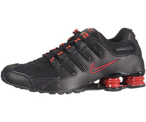 Buy NIKE SHOX NZ MENS 378341-036 (8, BLACK / BLACK - TRU RED)