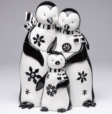 Appletree Design Penguin Family Cookie Jar, 11-1/4-Inch